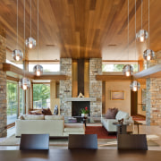 timber roofed room, hanging lights, wooden table and ceiling, daylighting, hardwood, interior design, living room, lobby, real estate, table, wood, brown