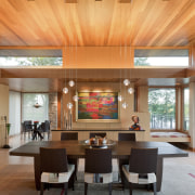 timber roof, inset lights, heavy wooden table and ceiling, dining room, interior design, living room, lobby, table, orange, gray