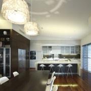 Kitchen area with white barstools. - Kitchen area ceiling, countertop, interior design, kitchen, real estate, room, black