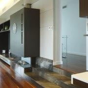 Living area going into hallway. - Living area floor, flooring, hardwood, house, interior design, living room, property, real estate, room, wood, wood flooring, gray, white