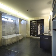 Large shower space - Large shower space - architecture, bathroom, ceiling, daylighting, floor, flooring, house, interior design, lobby, real estate, room, tile, black, gray