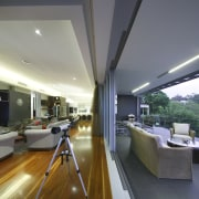Outlook from living area onto Deck. - Outlook architecture, ceiling, daylighting, floor, home, house, interior design, living room, real estate, roof, window, gray
