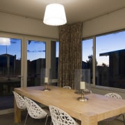 Dining area with view. dining room, interior design, real estate, room, table, window, brown