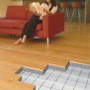 Cross section of the Central heating underfloor. - floor, flooring, furniture, hardwood, laminate flooring, sitting, table, tile, wood, wood flooring, orange, brown