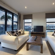 Afternoon shot of living area. - Afternoon shot estate, home, house, interior design, living room, penthouse apartment, property, real estate, room, window, gray