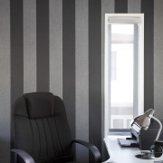 Office space with wallpaper design. - Office space angle, chair, curtain, floor, furniture, interior design, living room, product design, shade, wall, window, window covering, window treatment, black, gray, white