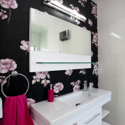 Open bathroom design with mirror and vanity. - bathroom, interior design, pink, purple, room, wall, gray, black