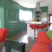 Green and red kitchen. - Green and red architecture, furniture, home, house, interior design, living room, real estate, room, table, white