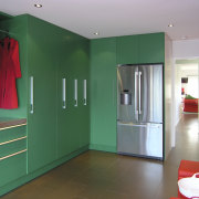 Green kitchen with Red. - Green kitchen with architecture, ceiling, door, floor, home, house, interior design, property, real estate, room, wall, teal, gray