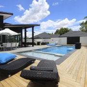 Deck chais overlooking pool. - Deck chais overlooking estate, home, house, leisure, property, real estate, resort, roof, swimming pool, villa, black