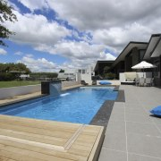 Pool side. - estate | home | house estate, home, house, leisure, property, real estate, swimming pool, villa, water, gray