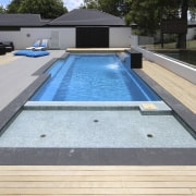 Shallow area of pool - Shallow area of composite material, daylighting, leisure, pool, property, swimming pool, water, wood, gray