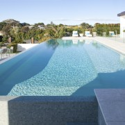 Sunny view of pool. - Sunny view of estate, leisure, property, real estate, resort, resort town, swimming pool, water, water resources, teal, white