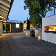 Fireplace and outdoor area. - Fireplace and outdoor architecture, home, house, property, real estate, black