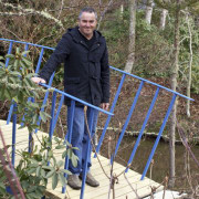 Man standing on a bridge plant, tree, brown