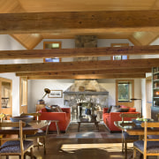 Architect Alexander Gorlin distilled the essence of a beam, ceiling, interior design, living room, wood, brown