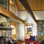 Architect Alexander Gorlin distilled the essence of a architecture, beam, ceiling, daylighting, home, house, interior design, living room, room, wall, window, wood, brown