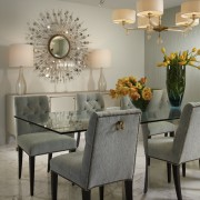 The wallcovering by Maya Romanoff and Thomas Pheasant chair, dining room, furniture, home, interior design, living room, room, table, wall, gray