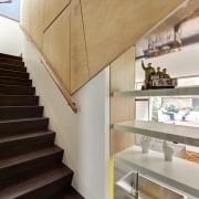 WIn this modern house, when doors are closed, architecture, handrail, house, interior design, stairs, wood, gray