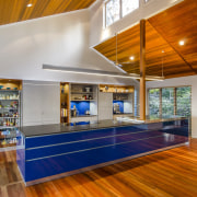 In this large family kitchen, retractable doors open ceiling, interior design, real estate, wood, brown, gray