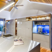 This kitchen was designed by Kim Duffin of architecture, ceiling, estate, home, house, interior design, real estate, gray