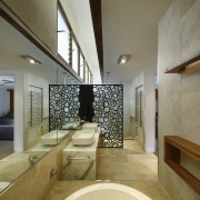A picture of travertine tile, mirror and warm architecture, bathroom, ceiling, daylighting, estate, floor, flooring, home, interior design, property, real estate, room, brown, gray