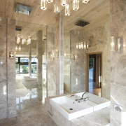 In this new bathroom, translucent light fittings pick architecture, bathroom, ceiling, daylighting, estate, floor, home, interior design, tile, white