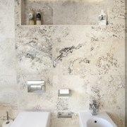 This bathroom was designed by Jalna Eve Design bathroom, bidet, ceramic, floor, interior design, plumbing fixture, room, tap, tile, toilet, toilet seat, wall, gray