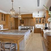 A view of the entire kitchen. - A countertop, cuisine classique, estate, interior design, kitchen, real estate, room, brown, gray
