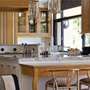 There are his-and-hers refrigerator drawers in the side countertop, cuisine classique, home, interior design, kitchen, room, window, gray, brown