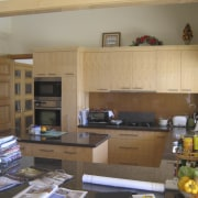A view of the kitchen area before it cabinetry, countertop, interior design, kitchen, living room, room, brown, gray