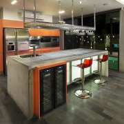 The use of off-form concrete for the walls countertop, interior design, kitchen, black, gray