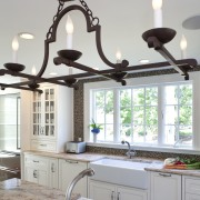 Country style family kitchen - Country style family ceiling, home, interior design, kitchen, light fixture, lighting, room, sink, tap, window, gray