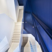 The grand staircase in Cleveland's Museum of Contemporary architecture, daylighting, line, product design, stairs, blue, white