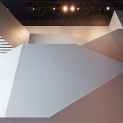 The grand staircase in Cleveland's Museum of Contemporary angle, architecture, ceiling, daylighting, floor, light, line, product design, gray