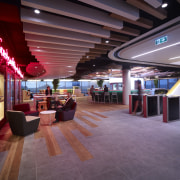 New Lion office design by Project Control Group ceiling, interior design, lobby, shopping mall, red, purple