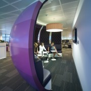 Large curved screens with padded interiors semi-enclose this architecture, ceiling, daylighting, design, interior design, product design, structure, black