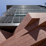 Arizona State University Interdisciplinary Science and Technology Building angle, architecture, building, commercial building, condominium, corporate headquarters, daylighting, daytime, facade, line, metropolitan area, roof, skyscraper, structure, urban area, wood, red