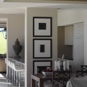 Interior by designer Garth Barnett - Interior by dining room, furniture, home, interior design, living room, room, table, gray, black