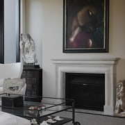 Contemporary, eclectic interior by designer Garth Barnett fireplace, floor, flooring, furniture, hearth, home, interior design, living room, room, table, gray, black