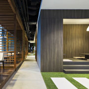 View of The Exchange at DBS Asia Central architecture, house, interior design, lobby, wood, black, brown