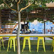 The design of the Exchange @ DBS Asia leisure, plant, recreation, table, tree, yellow, brown