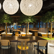 View of The Exchange at DBS Asia Central café, interior design, restaurant, black, brown