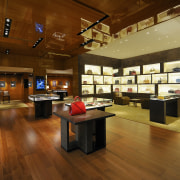 Louis Vuitton product is displayed within eye-catching illuminated flooring, interior design, wood, brown