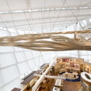 Nautical references abound on the interior of the architecture, ceiling, daylighting, product design, wood, white