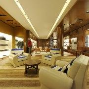 In the Louis Vuitton Island Maison in Singapore, ceiling, interior design, lobby, brown, orange