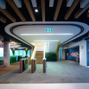 Fire-rated solution from Won-Door ceiling, interior design, lobby, black, gray
