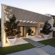 A new sandstone-clad form frames the entry to architecture, estate, facade, home, house, property, real estate, residential area, roof, siding, window, white, gray