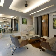 White walls and a matching porcelain-tiled floor enhance ceiling, interior design, living room, lobby, real estate, gray