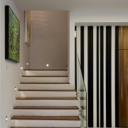 Interior of townhouse renovated by Interlink and featuring architecture, floor, flooring, handrail, hardwood, home, house, interior design, stairs, wood, wood flooring, gray